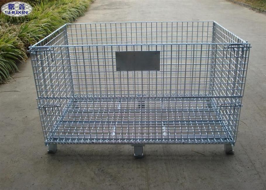 Steel Wire Mesh Pallet Cages , Galvanized Stackable Pallet Cages ISO Approved