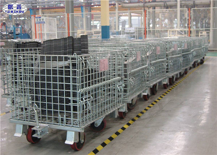 Stackable Steel Wire Mesh Pallet Containers Collapsible Cage With Wheels