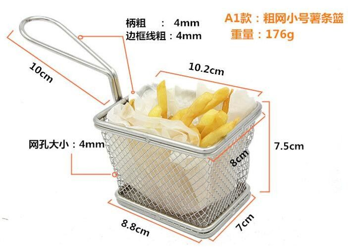 Deep Fryer Wire Mesh Fry Basket Round / Rectangular / Square With Long Handle